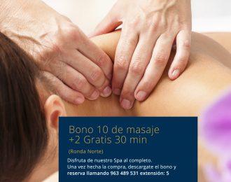 Bono 10 +2 Gratis de masaje Ronda Norte. 30min Ronda Norte
