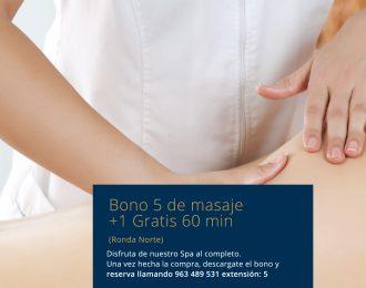 Bono 5 +1 Gratis de masaje Ronda Norte. 60min
